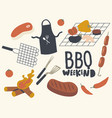 set icons bbq theme raw and fried meat chief vector image