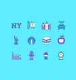 set simple line icons new york vector image vector image