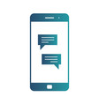 smartphone with chatting screen messenger vector image vector image