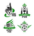 soccer ball and beer icon for sport bar design vector image vector image