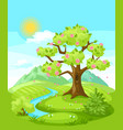 spring landscape with trees mountains and hills vector image vector image