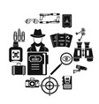 spy tools icons set simple style vector image vector image