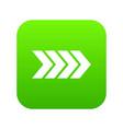 striped arrow icon digital green vector image vector image