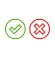 tick and cross signs simple vector image vector image