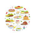 traditional european cuisine meals pattern of vector image