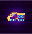 train toy neon sign vector image vector image