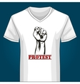 V neck Shirt Template with Protest Fist vector image vector image
