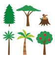 various trees set isolated design elements vector image vector image