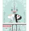 wedding invitationsbridegroom hearparis winter vector image vector image