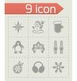 Winter icon set vector image vector image