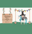 witch with unicorn and label wooden invitation vector image vector image