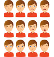 young male face expression set vector image