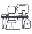 office desk with computer and chair line vector image
