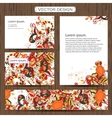 Set of 4 doddle ornamental business cards on a vector image