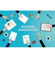 business domination concept work in desk with vector image