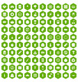 100 nutrition icons hexagon green vector image vector image