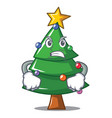 angry christmas tree character cartoon vector image
