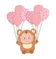 bear costume with balloons vector image