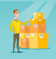 business man checking boxes in warehouse vector image vector image