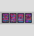 carnival party is set of posters in neon style vector image