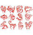 chinese zodiac animals in paper cut style vector image vector image