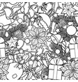 christmas outline seamless pattern vector image vector image