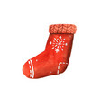 christmas sock with presents hand drawn vector image