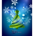 Christmas tree blue shiny abstract background vector image vector image