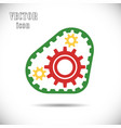 colored gears with timing belt icon vector image