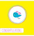 Congratulations card with cute blue bird vector image vector image