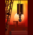 construction crane at sunset vector image vector image