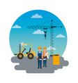 construction workers truck crane barrel and round vector image