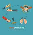 Corruption infographic banner set with corrupt vector image vector image