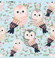 cute colorful owl seamless pattern vector image
