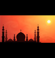 dark mosque silhouette on hot sun orange sky vector image vector image