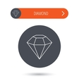 Diamond icon Brilliant gemstone sign vector image vector image