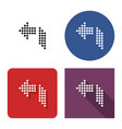 dotted icon left orthogonally curved arrow in vector image