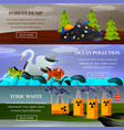 ecological problems flat banners vector image vector image