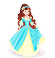 fairy princess in blue gown vector image