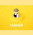 farmer isometric icon isolated on color vector image vector image
