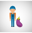 farmer with vegetable isolated icon design vector image