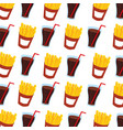 fast food french fries and soda seamless pattern vector image