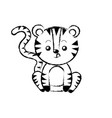 figure cute tiger wild animal with face expression vector image vector image