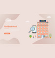 find hotel or search hotels concept for website vector image vector image