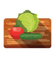 fresh cabbage tomato cucumber on a cutting board vector image vector image