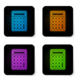 glowing neon calculator icon isolated on white vector image vector image