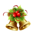 Golden Christmas bells with Holly berries tinsel vector image vector image