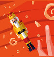 hand with nutcracker king toy icon vector image