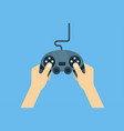 hands holding gamepad - flat leisure vector image