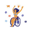 happy yound woman in bikini sitting in wheelchair vector image vector image